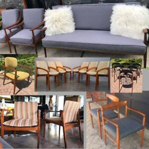 REFINISHED REUPHOLSTERED Designer Mid Century Modern Teak and Walnut Sofas from $999, Armchairs Lounge Accent Chairs
