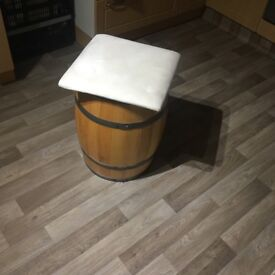 Wooden barrell approx 55cm high 40 cm high have been useD as chairs pad comes off as shown in photo