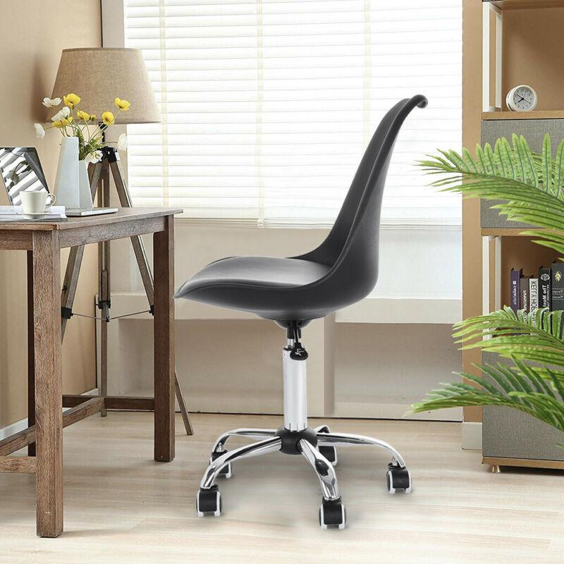 Office Desk Chair PU Leather Middle Swivel Wheels Black