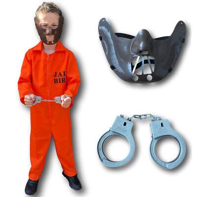 Orange County Jail Boiler Jump Suit Prison Convict Boys Kids Fancy Dress Costume