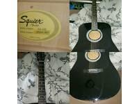 Squier Fender Black Full Size Acoustic Guitar