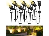 NEW Garden Spotlights Mains Powered, B-right Upgraded 21M 68.9ft 6-in-1 Extendable to 10 Spike