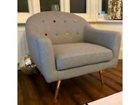 Light grey armchair with rose gold legs