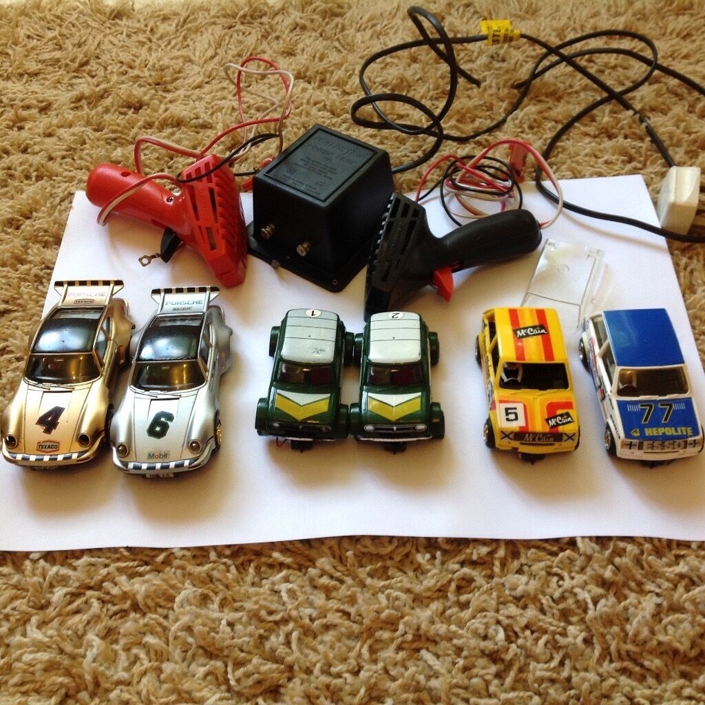 Large collection of vintage Scalextric cars, track and accessories- 1980's