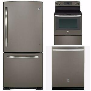 Combo : 30'' fridge , 30'' electric range , 24'' dishwasher, slate color, GE & GE Profile