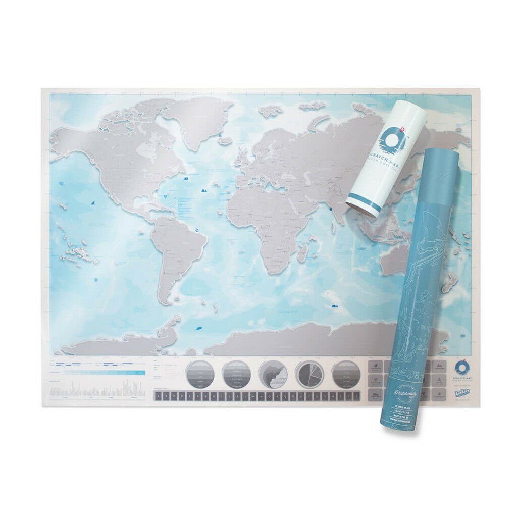 Large Scratch Map© Oceans Edition by Luckies - brand new in presentation tube