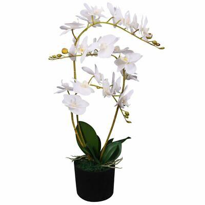 """vidaXL Artificial Orchid Plant w/ Pot 25.6"""" White Fake Flower Floral Decor"""
