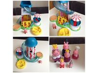 Peppa pig toy play sets and plush bundle playhouse helter skelter