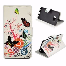 Butterfly Print Leather Card Wallet Slots Flip Cover Case For Samsung S6 Edge