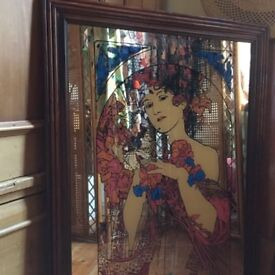 Huge bohemian 1970s Mucha print mirror
