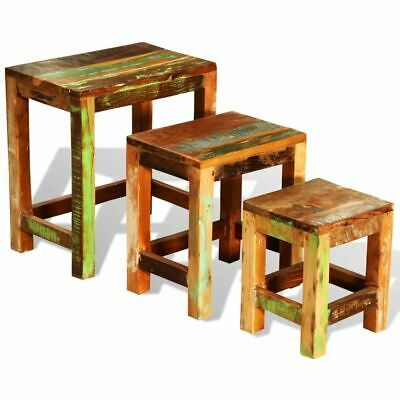 Antique Nesting End Tables 3pcs Set Side Table Stand Stool Reclaimed Wood Finish