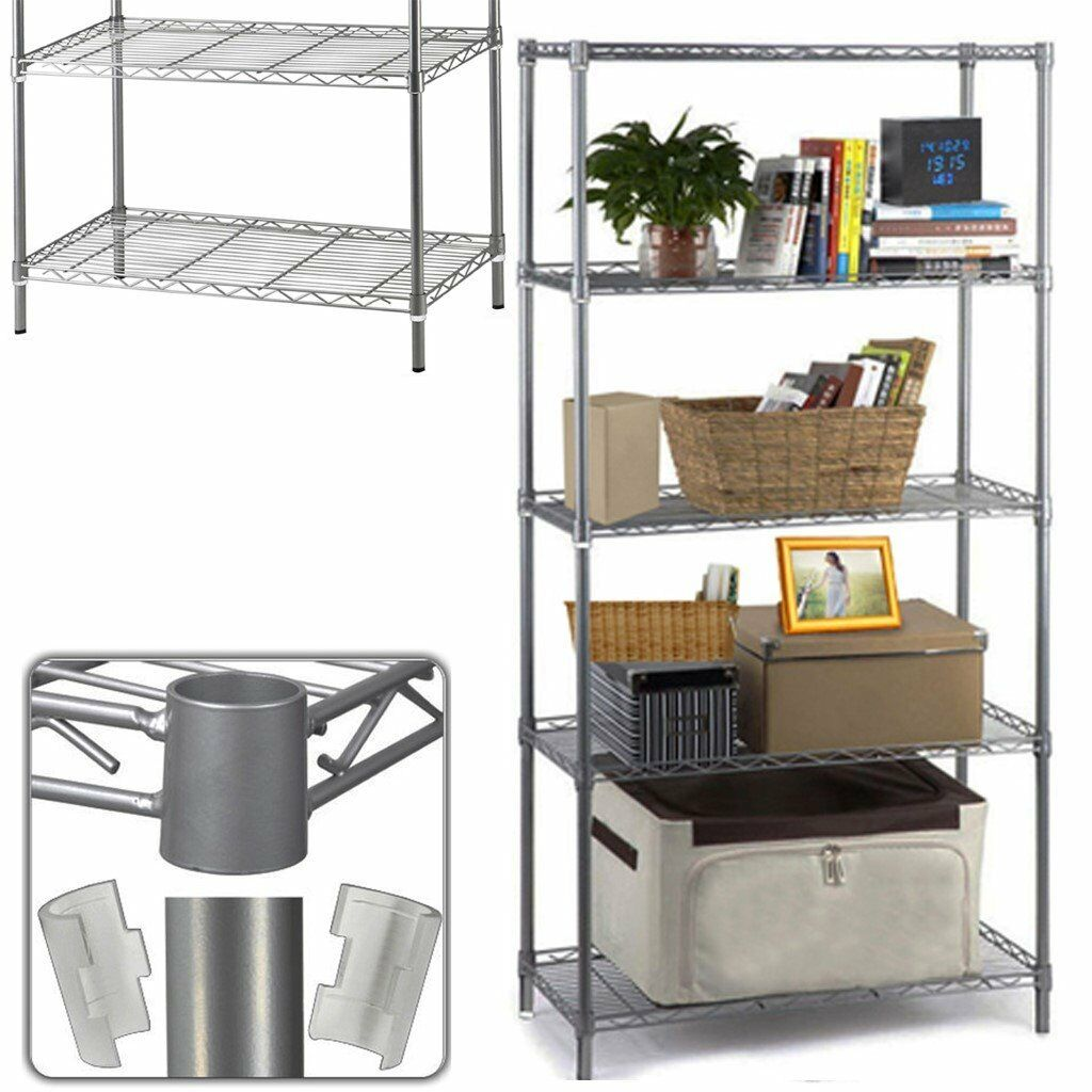 Steel Shelf For Kitchen 5 Tier Heavy Duty Rack Shelving Carbon Steel Shelf Kitchen Storage