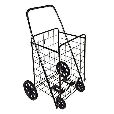 DLUX  Folding Shopping Cart D801S large Heavy Duty (Black) For Grocery/Laundry