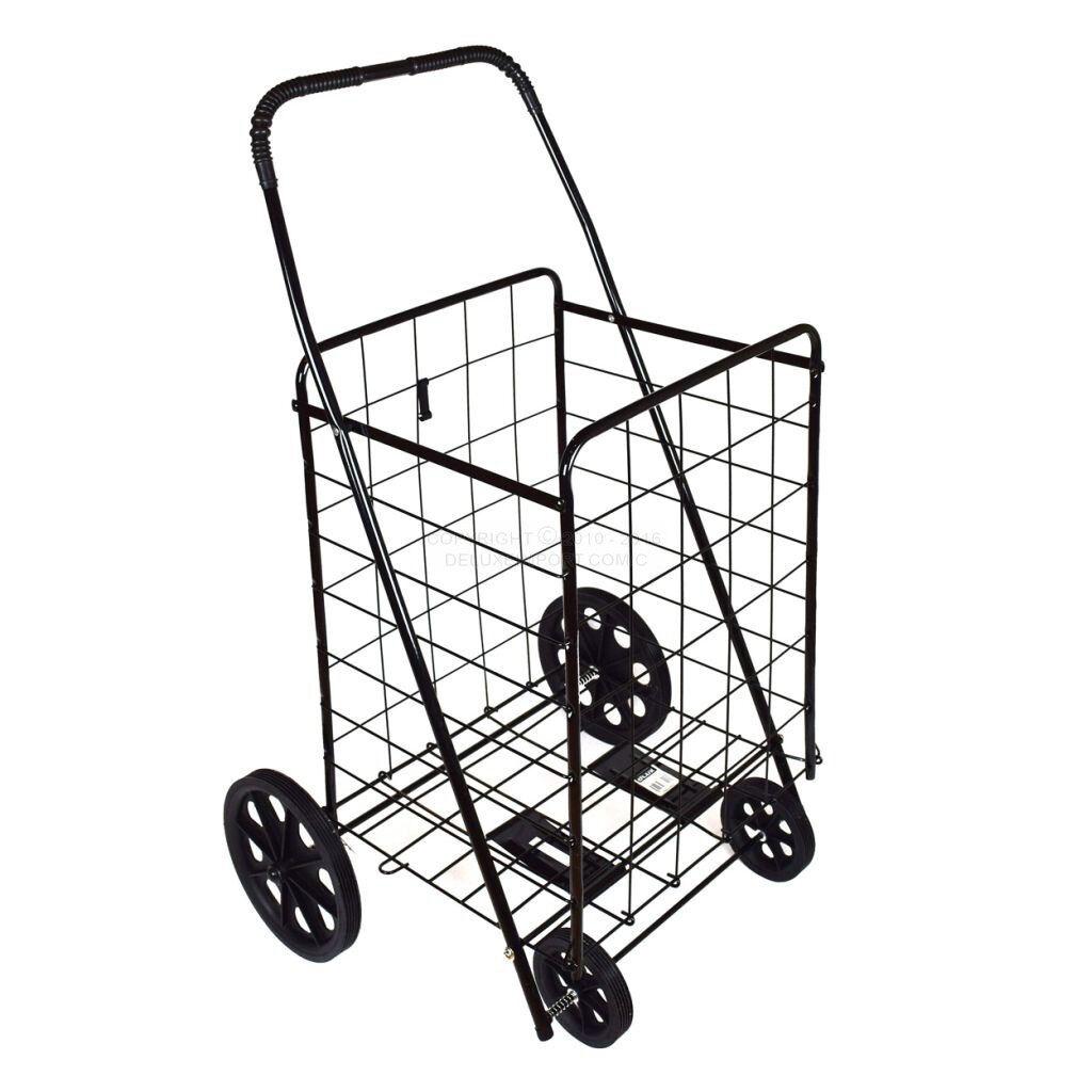 DLUX Extra Large Folding Shopping Cart Grocery/Laundry Basket D801S, Black