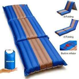 Folding Inflatable Camping Sleeping Pad Compact Ultralight Air Mat Mattress