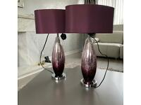 2 Large Next Purple Ombré Crackle Table Lamps