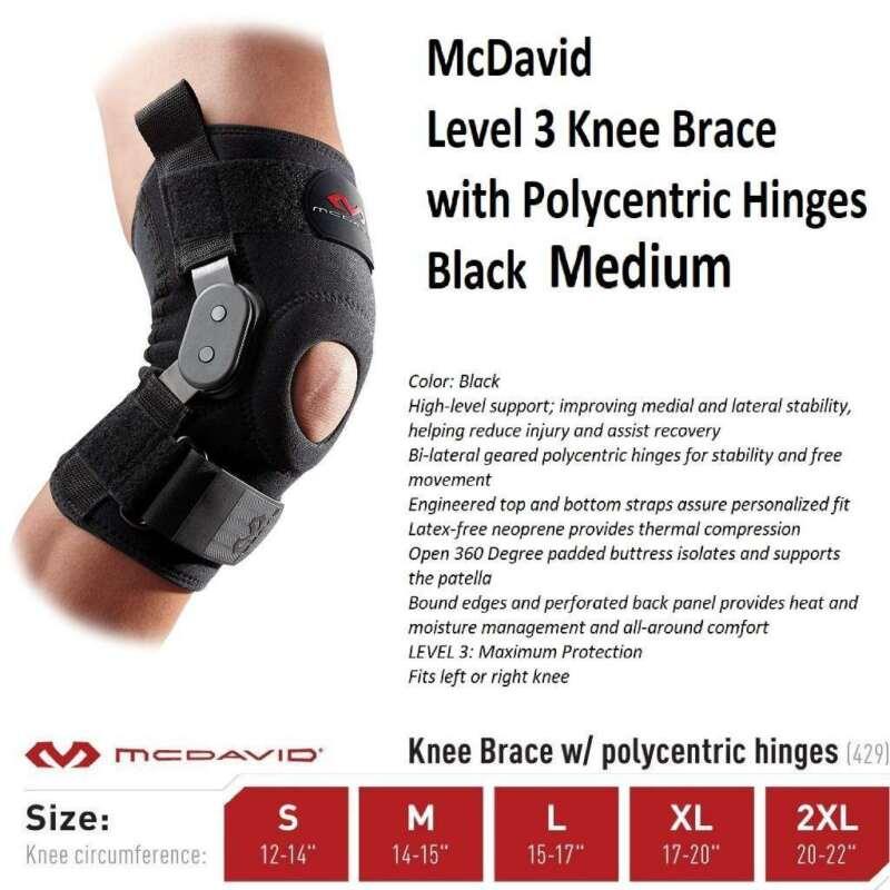 McDavid Level 3 Knee Brace with Polycentric Hinges(Black,-Medium)