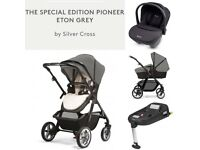 Used Silver Cross Pioneer Limited Edition Eton Grey *Full Travel system £500