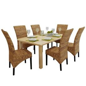 Dining Chairs 6 pcs Abaca and Solid Mango Wood-274201-OOS
