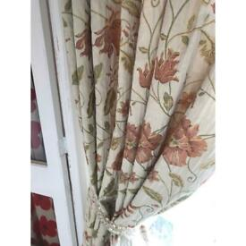 "90x90"" lined curtains, 2 pairs."
