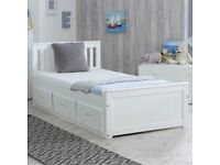 IMPERFECT WOODEN SOLID WHITE SINGLE 3FT STORAGE BED | STORAGE DRAWERS INCLUDED