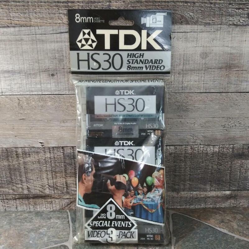 TDK 3 Pack HS30 Camcorder Video Cassette Tapes  High Standard 8mm New Sealed