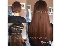 Russian Brazilian Indian virgin Remy micro nano ring hot fusion mobile hair extensions from £140