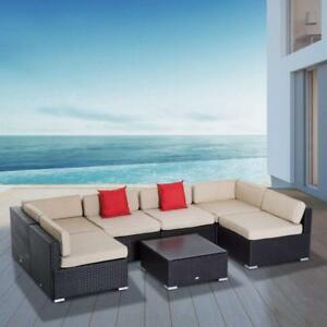 7Pc Rattan Set Outdoor Furniture Wicker Cushioned Sectional Sofa Lounge / patio furniture / no tax no tax/ call me now