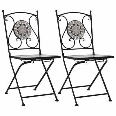 vidaXL 2x Mosaic Bistro Chairs Grey Ceramic Folding Garden Outdoor Furniture