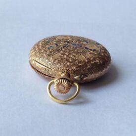 Vintage Swiss Pocket Watch Antique Gold 14k
