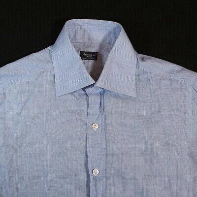 finamore napoli 1925 mens dress shirt size 15.5 39 light blue white button italy
