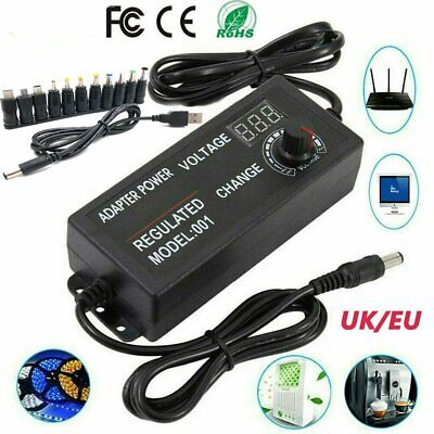5a 60w Adjustable Dc Power Supply Adapter Charger Variable Voltage 3-12v