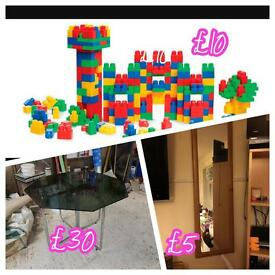 Mega blocks, glass dining table and pine mirror
