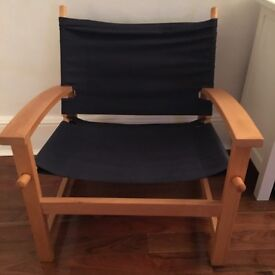 Canvas arm chair, navy blue fabric, very good condition, £10, collection only