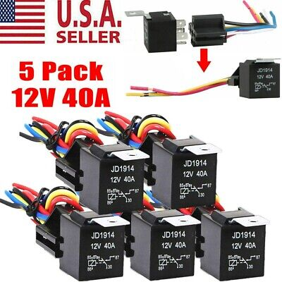 5pcs 12v 3040 Amp 5-pin Spdt Automotive Relay With Wires Harness Socket Set