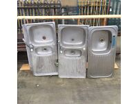 Reclaimed Three good quality stainless steel sinks two with taps