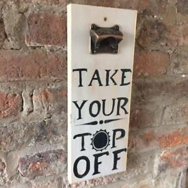 Cheeky wall mounted bottle opener, shabby chic