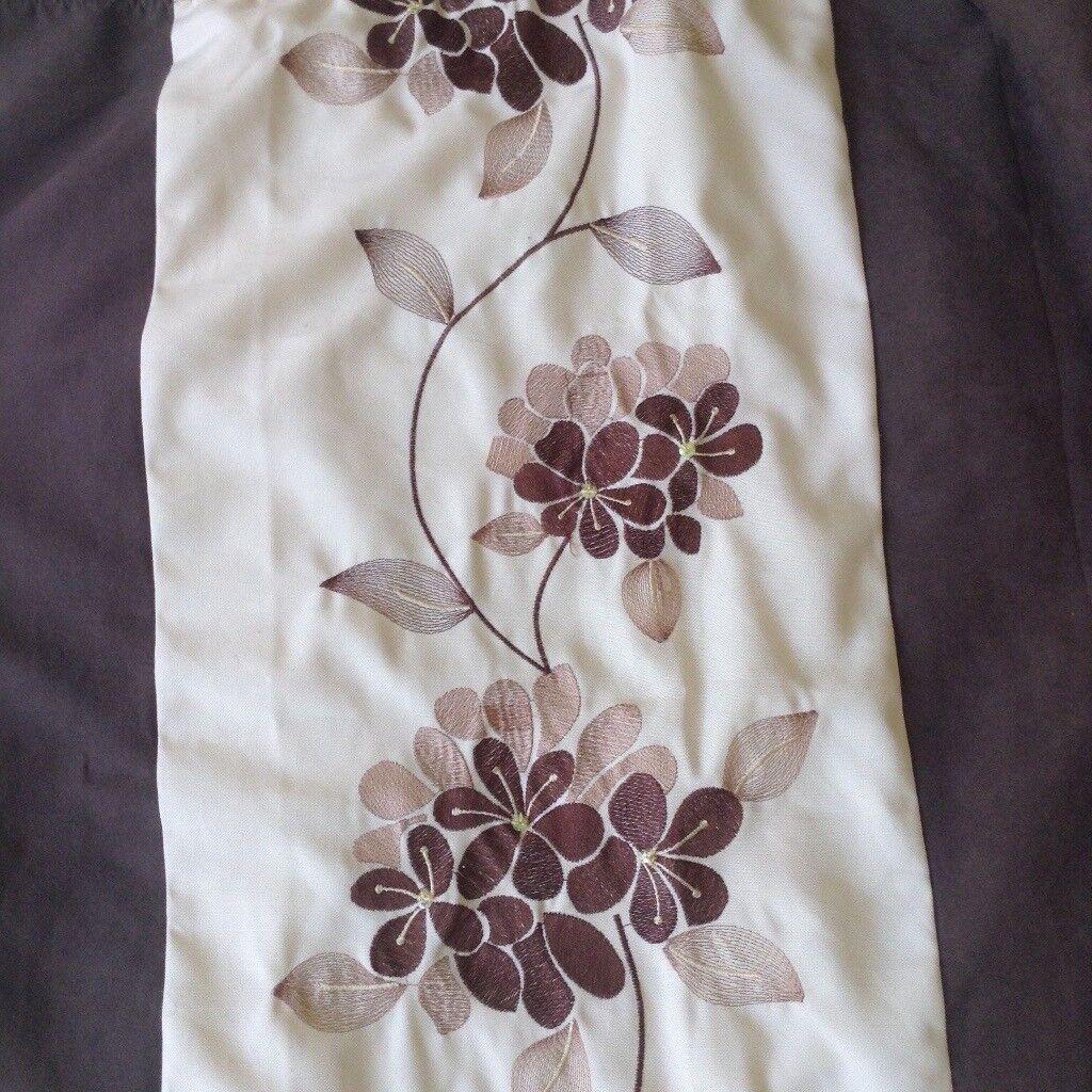 Cream/Brown Floral Curtains