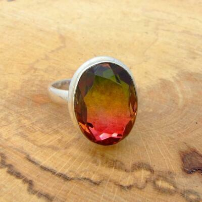Watermelon Quartz 925 Sterling Silver Oval Ring
