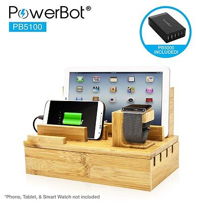 PowerBot PB5100 Bamboo Multi-Charging Station w/ Black 5 USB