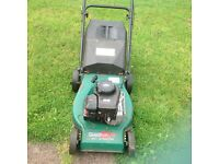 Self propelled petrol mower with Briggs and Stratton engine , including an Alko petrol strimmer.