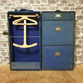 A Superb Fitted Metal Trunk Or Cabin Wardrobe