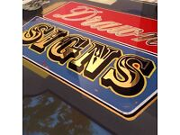 Drawn Signs: Sign Painter, Sign Writer, Sign Maker, Mural Artist, Gold Leaf signs, Painted Furniture