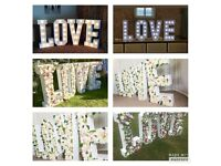 4FT LOVE letters decorated with flowers for hire for weddings, parties etc