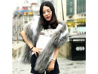 DAYMISFURRY--Grey and White Mongolia Fur Lady Wrap