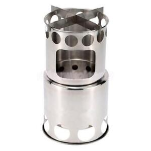 Portable Stainless Steel Split Wood Stove Outdoor Camping Backpack Cooking