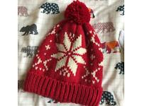 Red Snowflake Knitted Bobble Hat Christmas