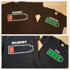 Novelty battery tshirt set.