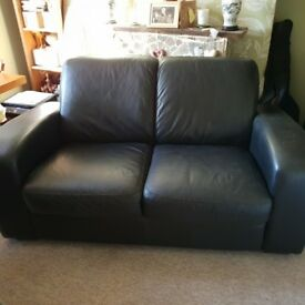 Chunky black leather 2 seater sofa