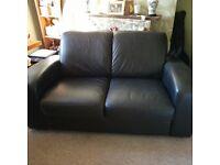 Chunky black leather 2 seater sofa